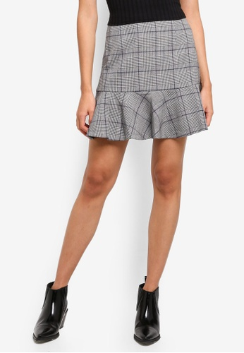 Forever New grey and multi Lola Fit And Flare Check Skirt 1B564AACF24D52GS_1