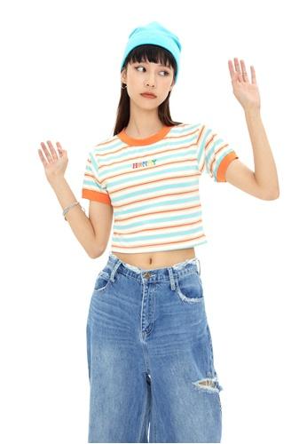 Twenty Eight Shoes Short Contrast Stripe T-shirt HH0032 FE429AAD109F1CGS_1