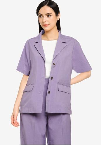 LOWRYS FARM purple Linen-Like Shirt Jacket B7BA6AA8625D70GS_1