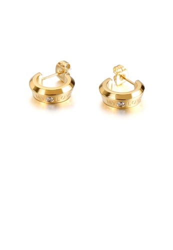 Glamorousky white Fashion Simple Plated Gold Geometric Circle Love 316L Stainless Steel Earrings with Cubic Zirconia 91136AC57FB2A2GS_1
