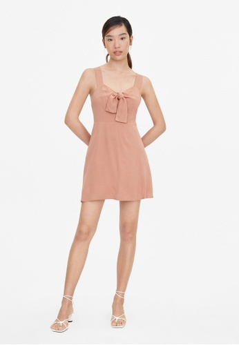 Pomelo pink Cross Back Bow Tie Dress - Pink 990D6AA2929413GS_1