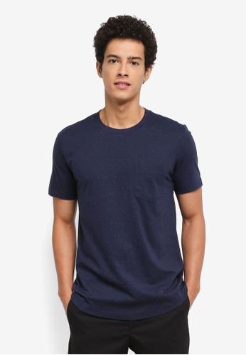 MANGO Man navy Flecked Cotton-Blend T-Shirt B8505AAF6B74DFGS_1