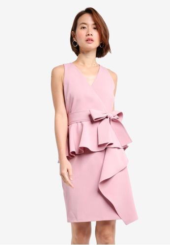 ZALORA pink Cascade Peplum Dress With Belt A8A1DAAA1303D8GS_1