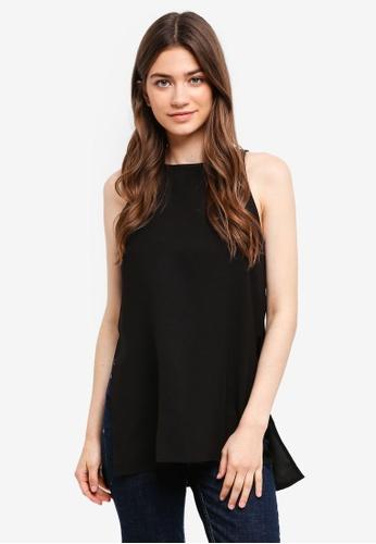 Something Borrowed black Cut-In Slit Tunic Top 1B86EAA361F826GS_1