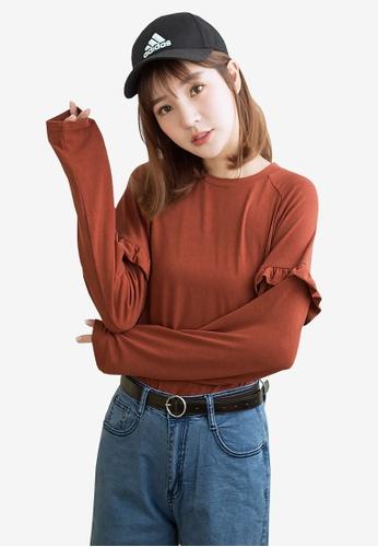 Tokichoi red Ruffled Detail Sleeves Top 974FAAA3FAE17BGS_1