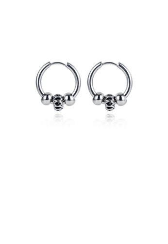 Glamorousky silver Simple Personality Geometric Round 316L Stainless Steel Stud Earrings 173D8AC835B3B9GS_1