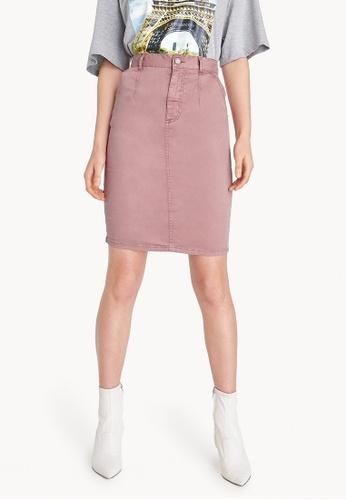 Pomelo pink Knee Length Back Slit Skirt 81172AA79A26D4GS_1