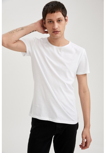 DeFacto white Short Sleeve Round Neck Cotton Basic T-Shirt 210ADAA376635FGS_1