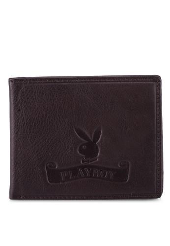 Playboy brown Embossed Bi-Fold Wallet D442DAC7CD0FA6GS_1