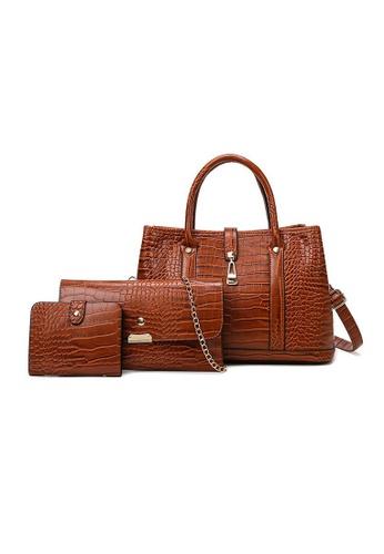 Lara brown Business Women's Leather Cross-body Bag Hand Bag (3-piece Set) - Light Brown C919BAC8983B5CGS_1