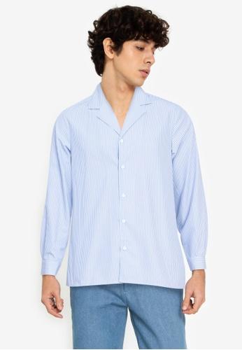 ZALORA BASICS multi Stripes Camp-Collar Shirt 4465BAA10AC1FCGS_1