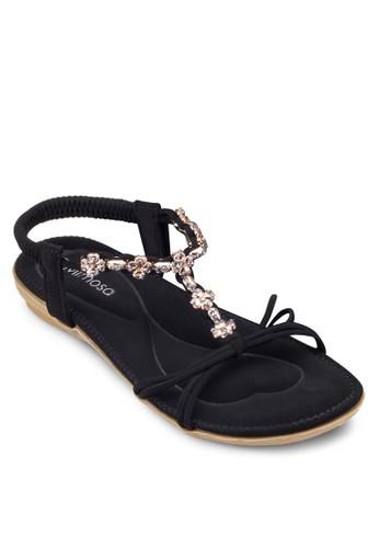 閃飾繞踝平底涼鞋, 女鞋esprit 台中, 涼鞋