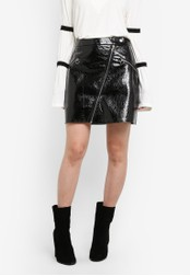Something Borrowed black Patent Mini Leather Skirt with Zips 19CFBAA230E087GS_1