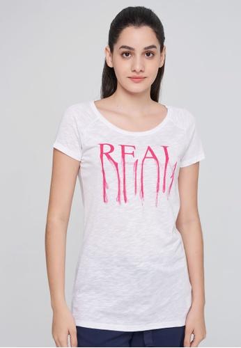Sisley white Printed T-shirt 3B0B5AA60FC7CDGS_1