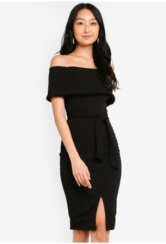 27dc76c8d390c Boohoo black Off The Shoulder Fold Over Split Midi Bodycon Dress  91307AAE96DD36GS_1