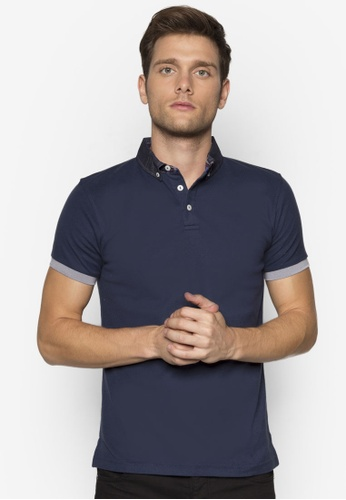 Private Stitch navy Polo shirt with Button Down Collar with Check Detail By Private Stitch PR777AA55TWMMY_1