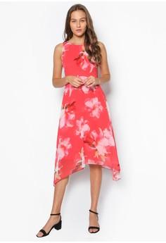 Petite Pink Floral Hem Dress