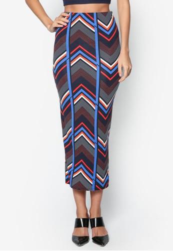 鋸齒印花鉛筆長裙,zalora taiwan 時尚購物網鞋子 服飾, 服飾
