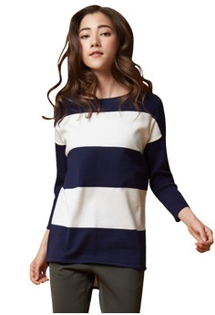 【ZALORA】 OUWEY歐薇 休閒藍白條紋針織上衣