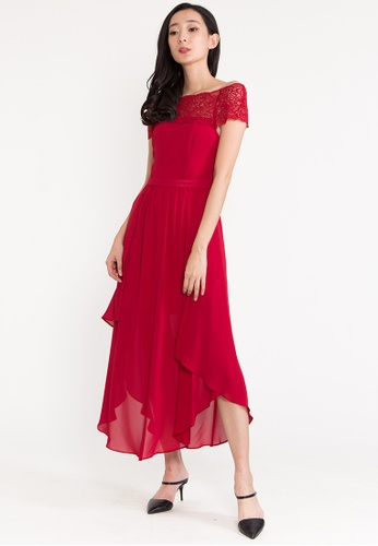 BEBEBUTTERFLY red BebeButterfly Off Shoulder Chiffon Evening Long Dinner Dress D1B69AA05672B5GS_1