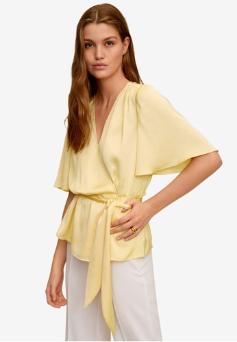 Mango yellow Wrap V-Neckline Blouse BE6B4AA03CBFE1GS_1