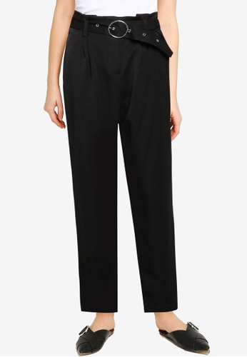 Miss Selfridge black Black O Ring Paperbag Trousers 2E794AA8EA47BAGS_1