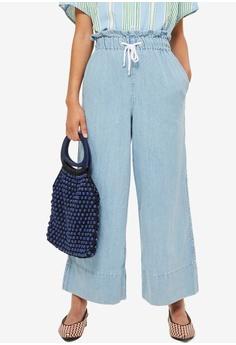 2a853f29dc9b TOPSHOP blue Bleach Draw Tie Cropped Jeans 395FDAA8F73175GS 1