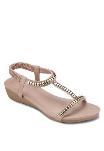 金飾彈性繞踝楔型esprit台灣跟涼鞋, 女鞋, 涼鞋