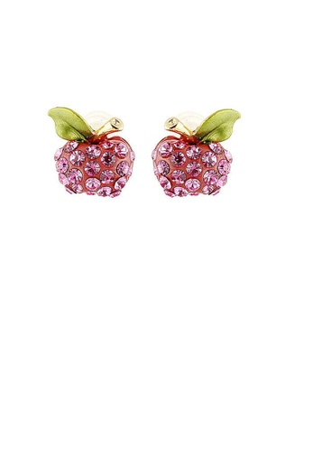 Glamorousky pink Fresh Apple Earrings with Pink Austrian Element Crystals 4C103ACD8C3C48GS_1