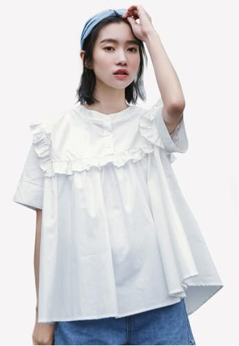 Shopsfashion white Ruffle Loose Fit Boxy Top SH088AA0RWYIMY_1