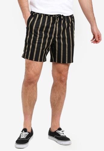 Topman black Black And Mustard Striped Shorts 274CDAAF80B82BGS_1