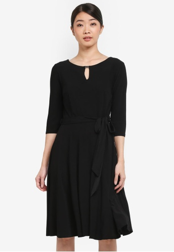 Wallis black Black Keyhole Fit And Flare Dress 55912AA1CCE055GS_1