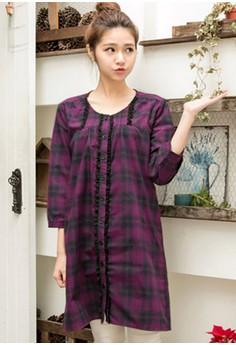 [IMPORTED] Sweet Classic Plaid Lotus Dress - Purple