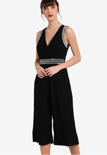 Lana 點綴滾邊V領無袖連身長褲,esprit台灣門市 服飾, 服飾