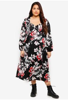 1e51de4713a55 ELVI multi Plus Size Floral Sweet Pea Midi Dress DA562AA5D16764GS 1