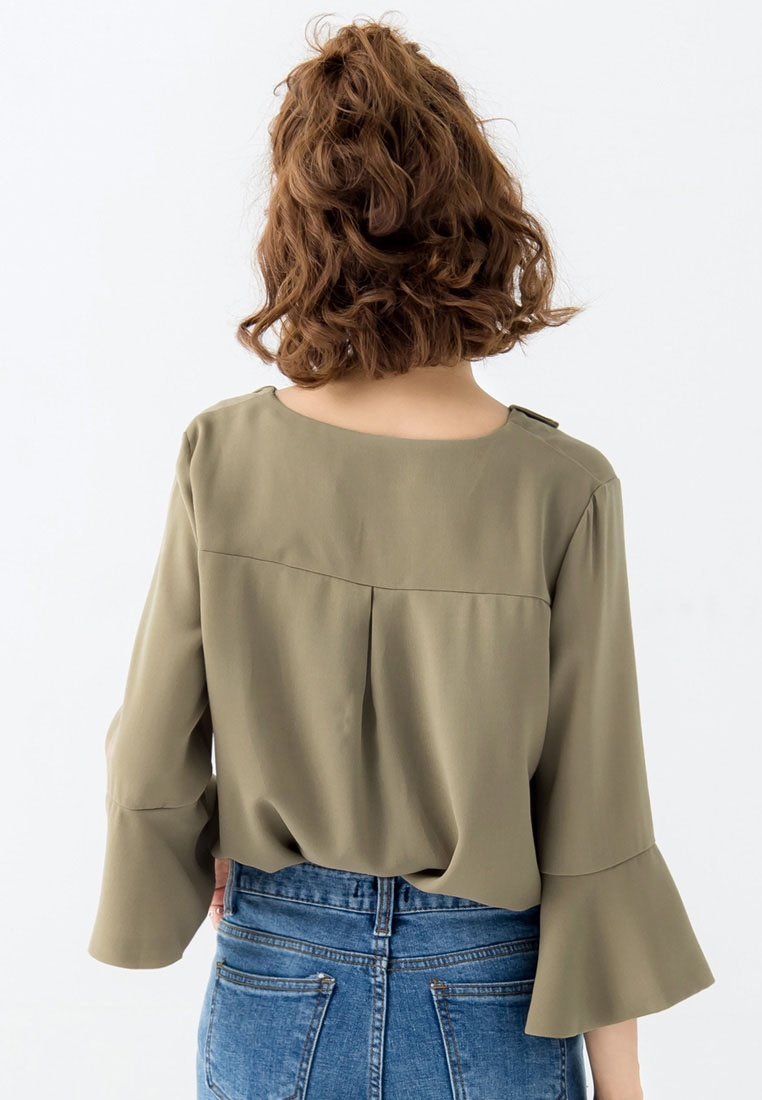 Tokichoi Bell Khaki Blouse Sleeves Chiffon with AxAr6q