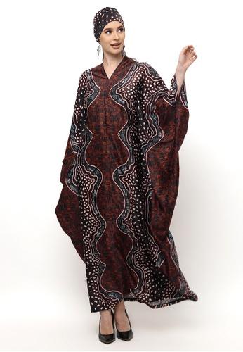 Kanzi by liza yahya brown Kanzi Exclusive Long Sleeve Batik Kaftan 8926FAA895F273GS_1