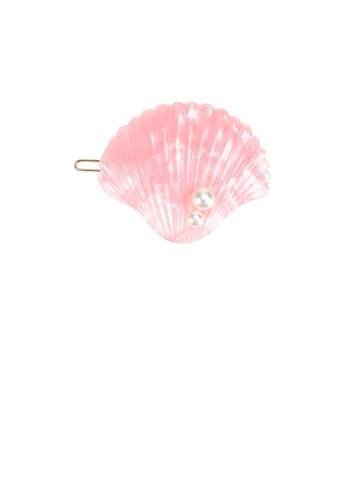 Glamorousky white Simple and Sweet Pink Shell Imitation Pearl Hair Clip D44E8ACDD40D57GS_1