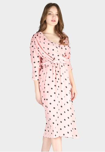 56ef705670de Shop London Rag Cowl Neck Polka Dot Dress Online on ZALORA Philippines