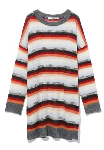 b+ab blue Colour block stripe sweater dress 7F3E4AA6963FCAGS_1