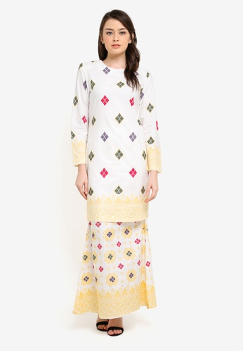 Butik Sireh Pinang white Kirana Cotton Modern Kurung with Songket Print BU003AA0S26TMY_1
