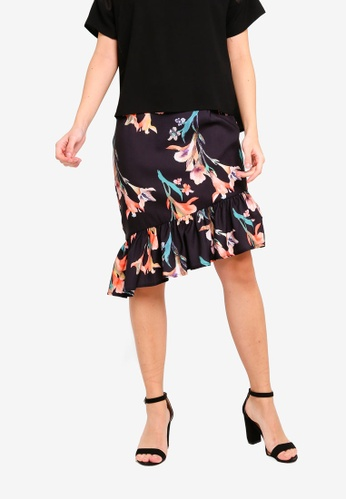ZALORA 黑色 荷葉飾Skirt F65E5AA2CC46DDGS_1