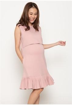 323a723cc2288 MOTHERCOT Peni Pleated Nursing Dress in Blush S$ 49.90. Sizes L XL