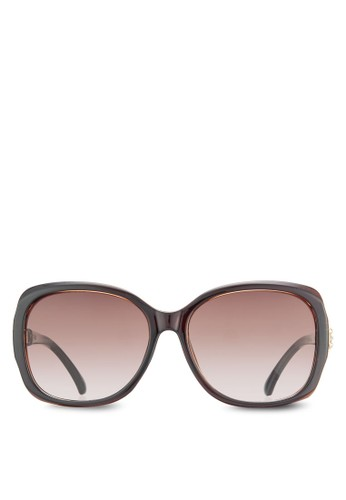 NUVesprit home 台灣EAU 水晶點綴鏡腿方框太陽眼鏡, 飾品配件, 長框