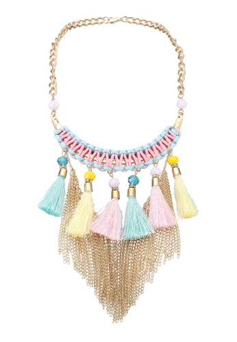 Red's Revenge blue Tribal Tassels Braid Necklace DF842AC855BDCFGS_1