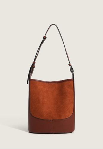 Lara brown Women's PU Leather Magnetic Closure Shoulder Bucket Bag - Light Brown 41261AC5AD56F1GS_1