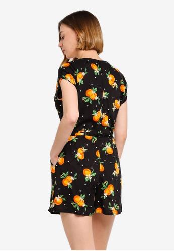 d0d4974d9ea Buy Dorothy Perkins Petite Orange Print Playsuit Online