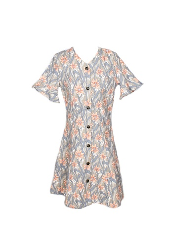 Mini Moley grey Floral Print Girl's Button Down Dress 54A8AKA983A0D4GS_1
