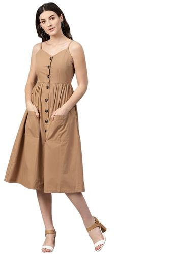 SASSAFRAS brown Brown Front Open Strappy Dress 269F8AA660CBEFGS_1