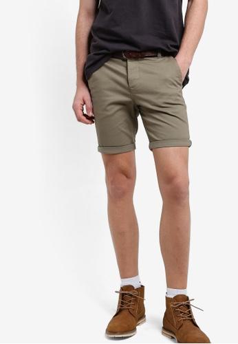 Topman green Khaki Stretch Chino Shorts TO413AA01RDIMY_1